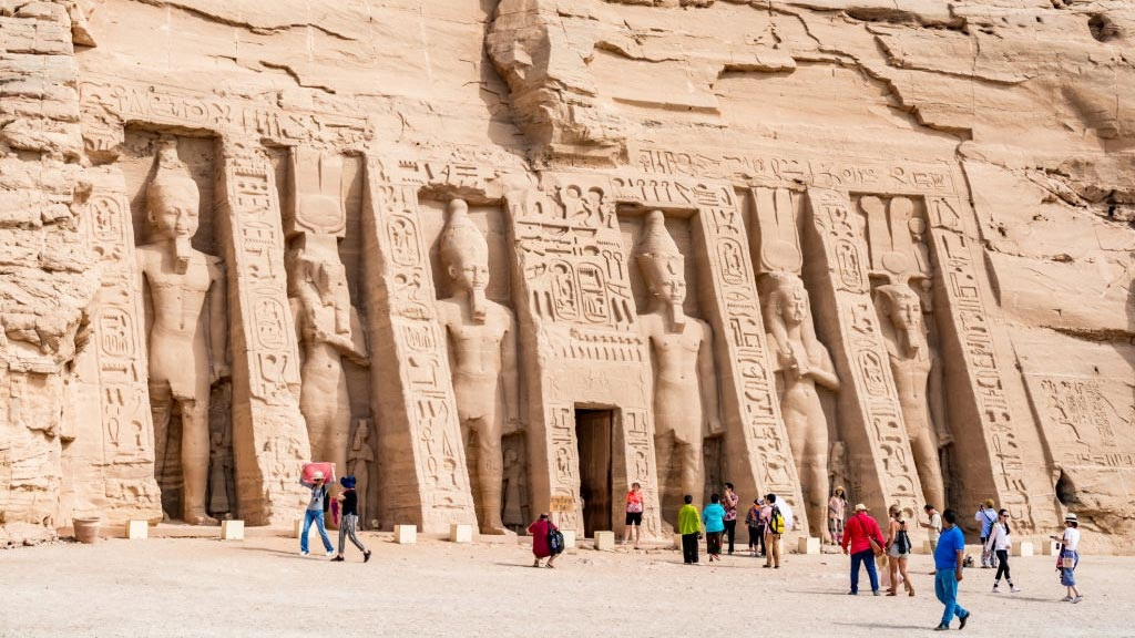 The entrance of the small temple of Nefertari